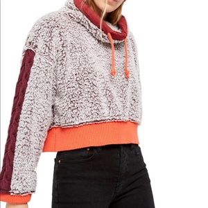 FP faux shearling crop pullover
